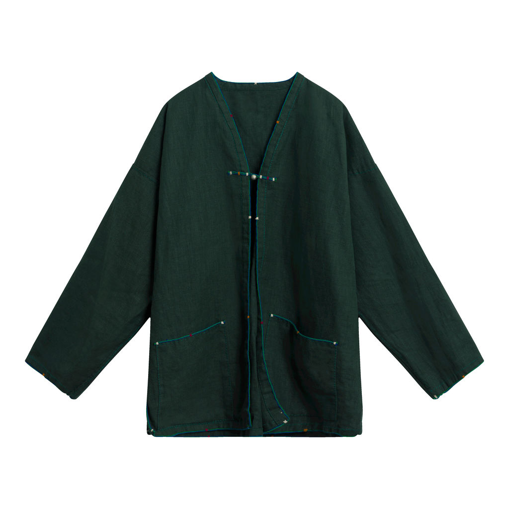 Traditional Thai Long-sleeve Jacket - Dark Green