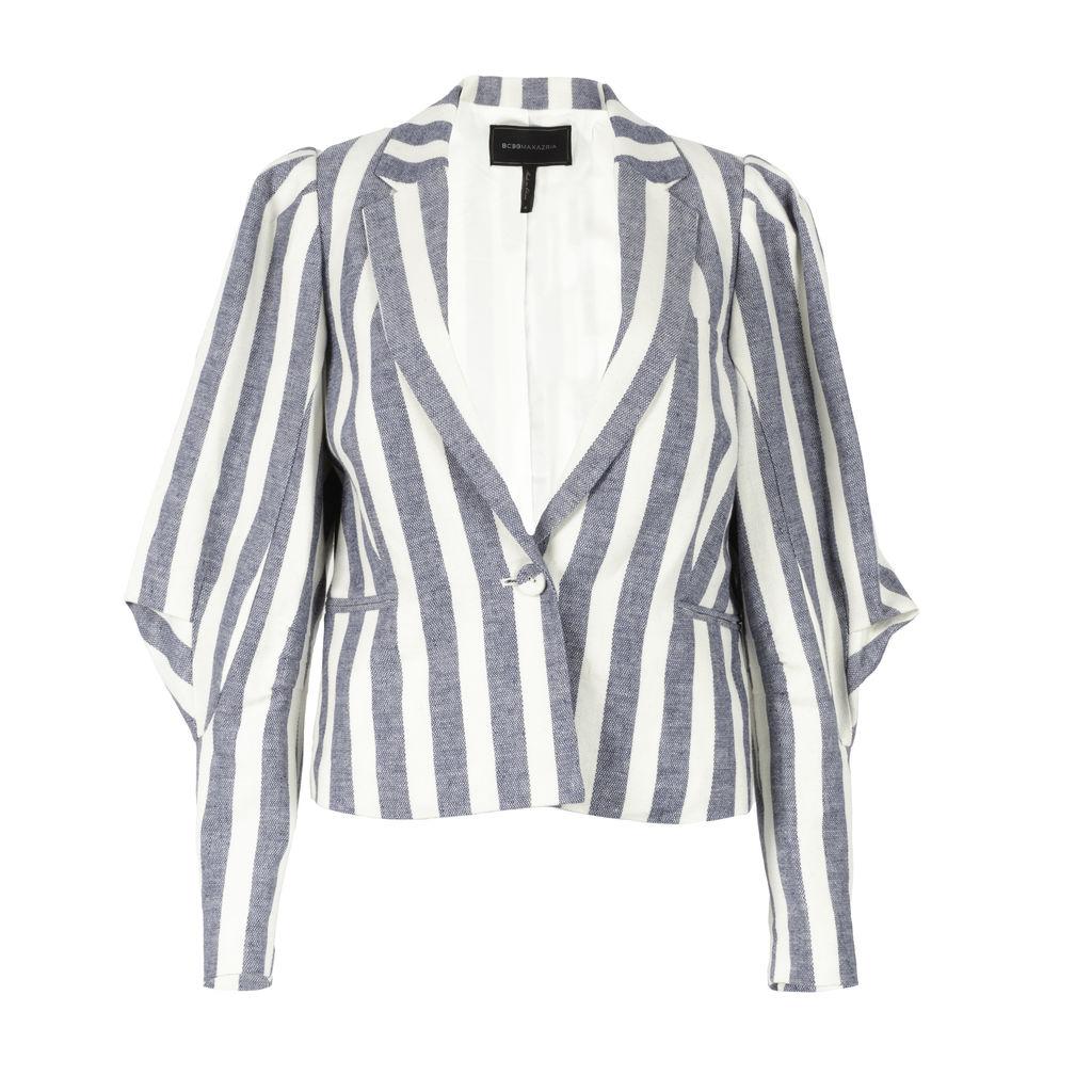 BCBG Puff-Sleeve Striped Blazer