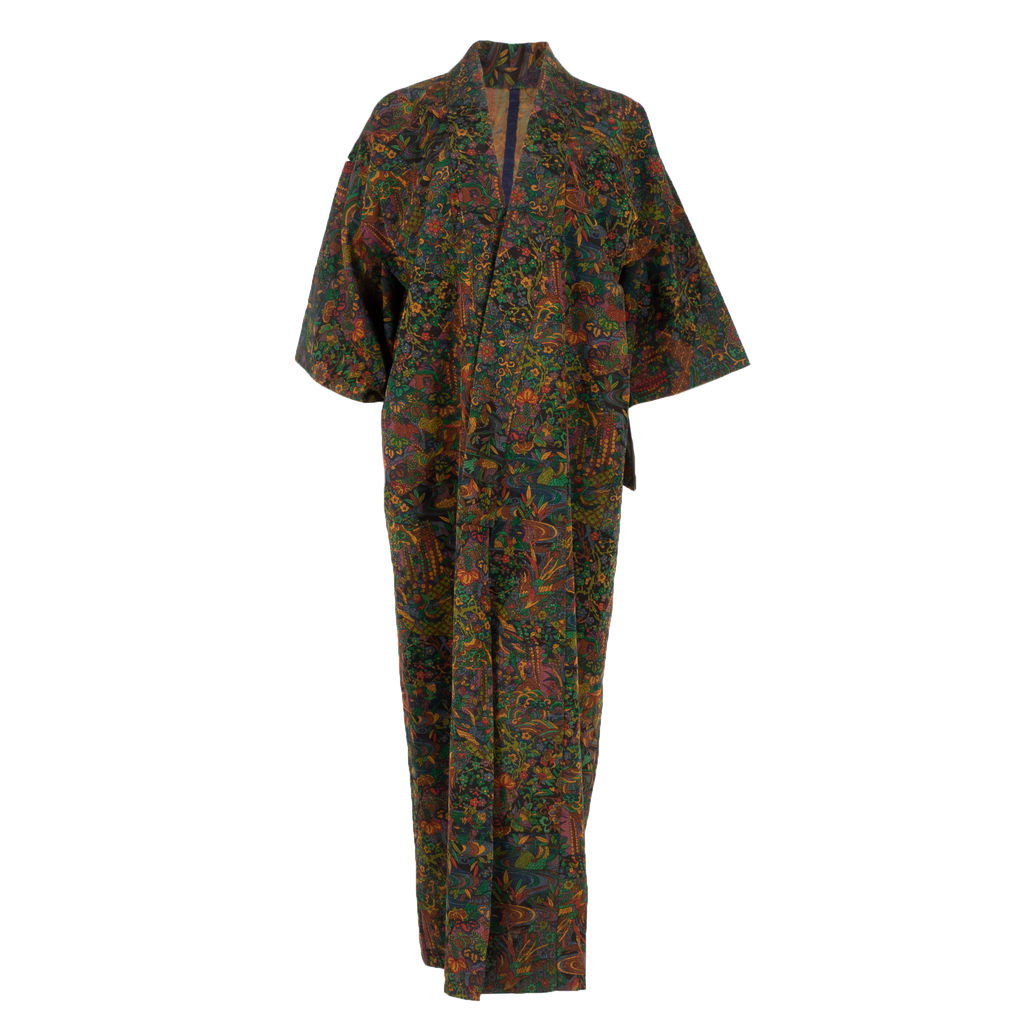Floral and Patchwork Printed Yukata