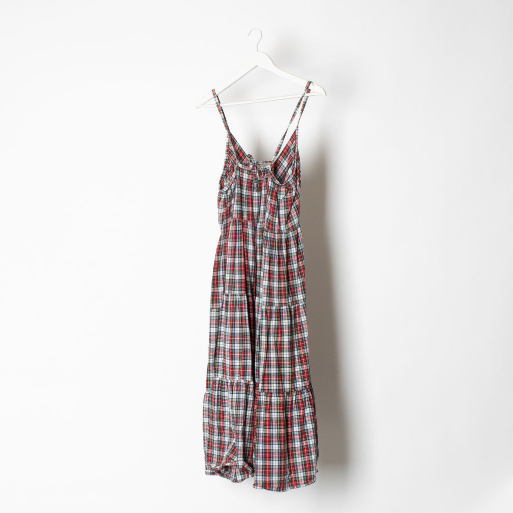 Vintage Plaid Maxi Dress