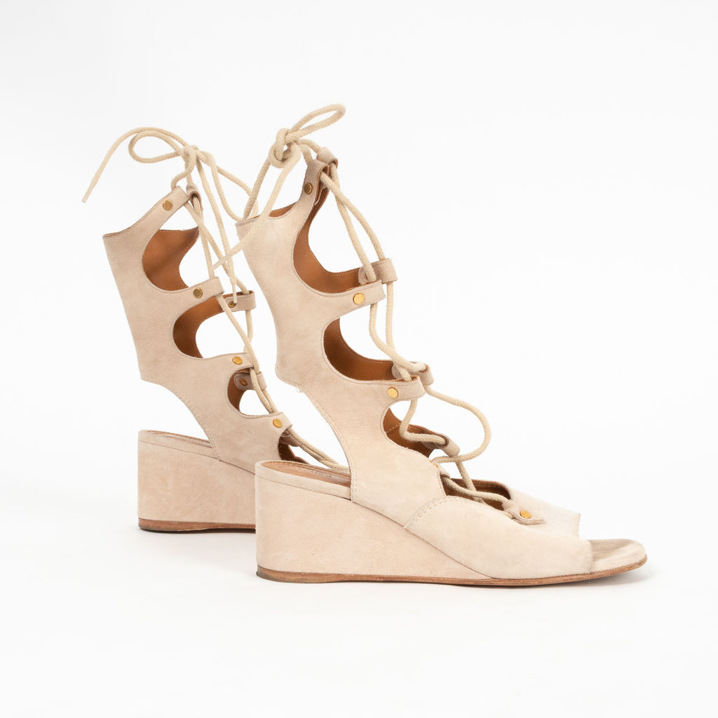Chloe Gladiator Lace-Up Wedge Sandals