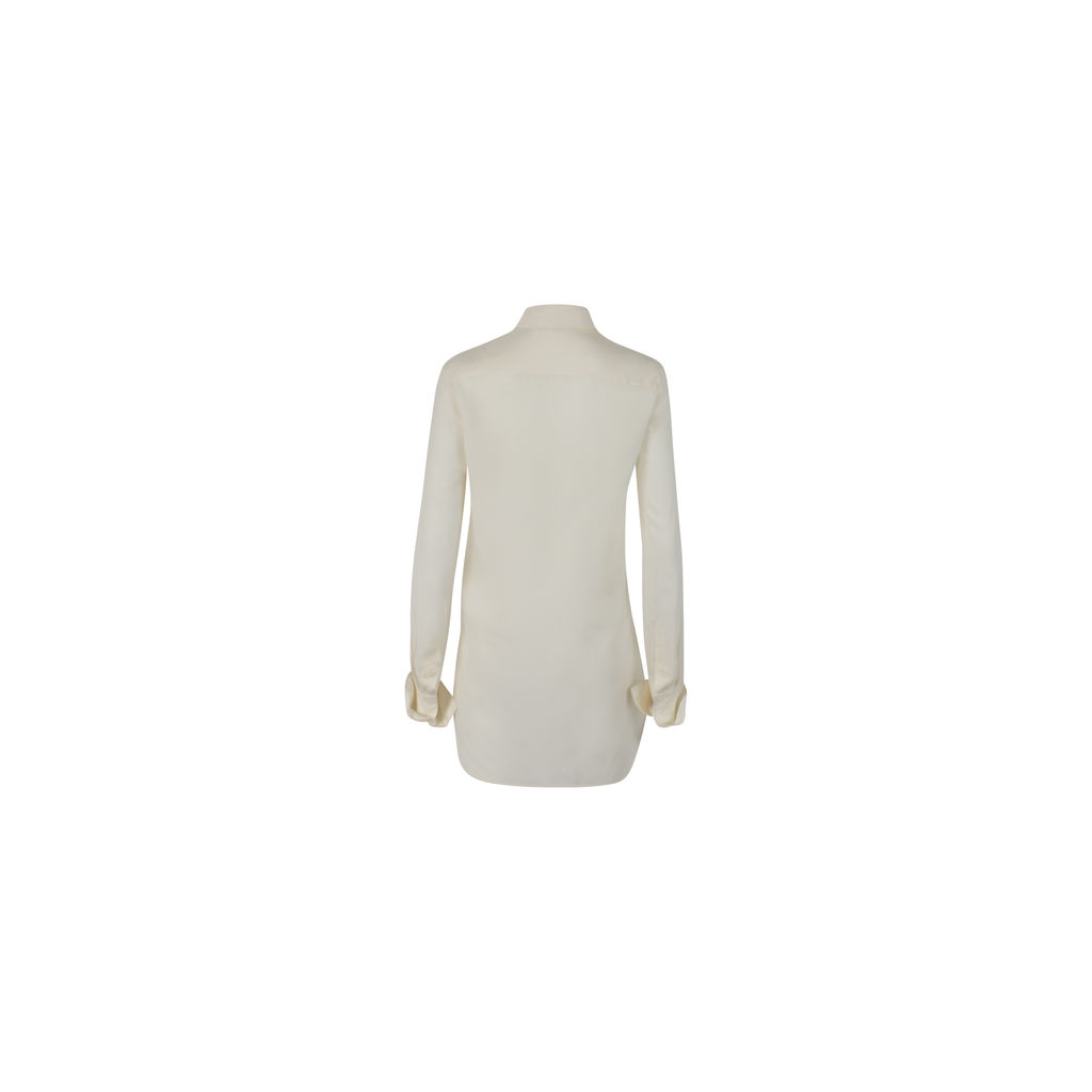 Celine Silk White Button Up Shirt