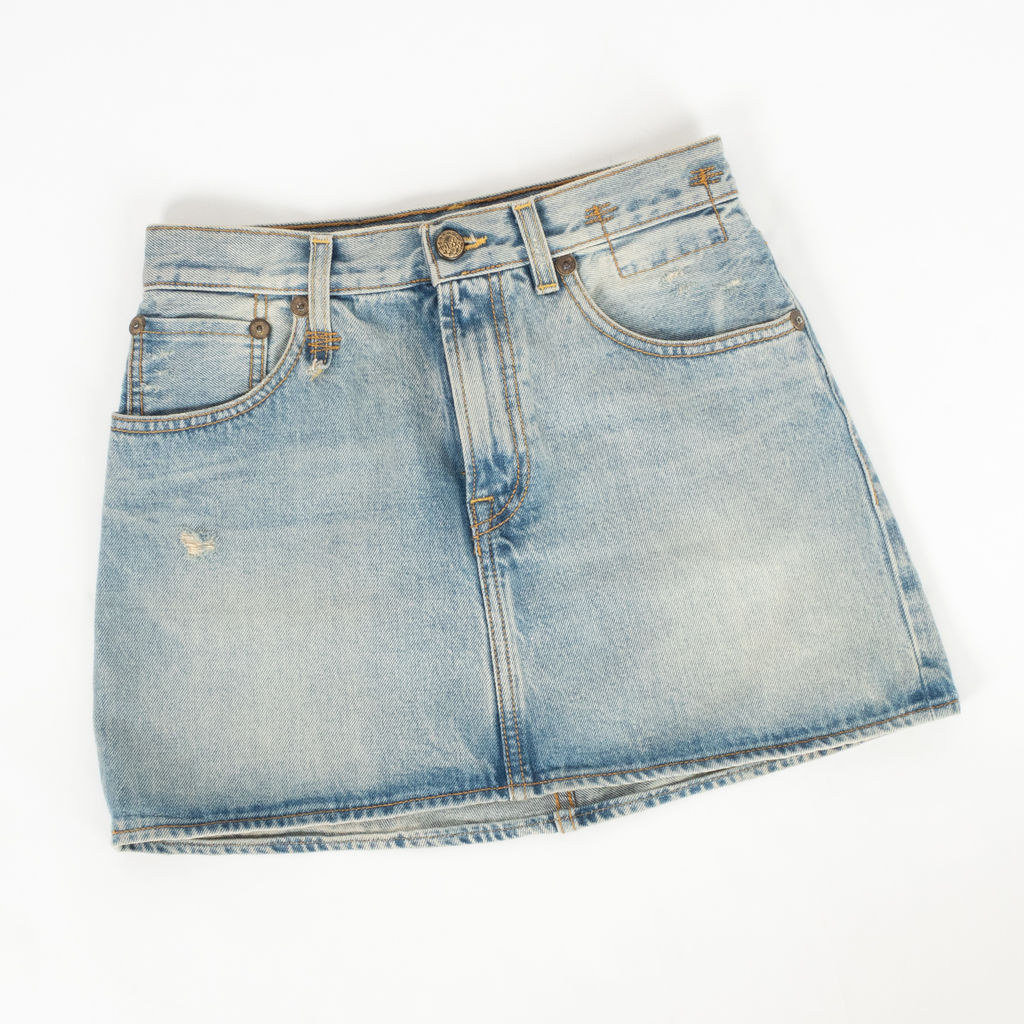 R13 Denim High Rise Mini Skirt