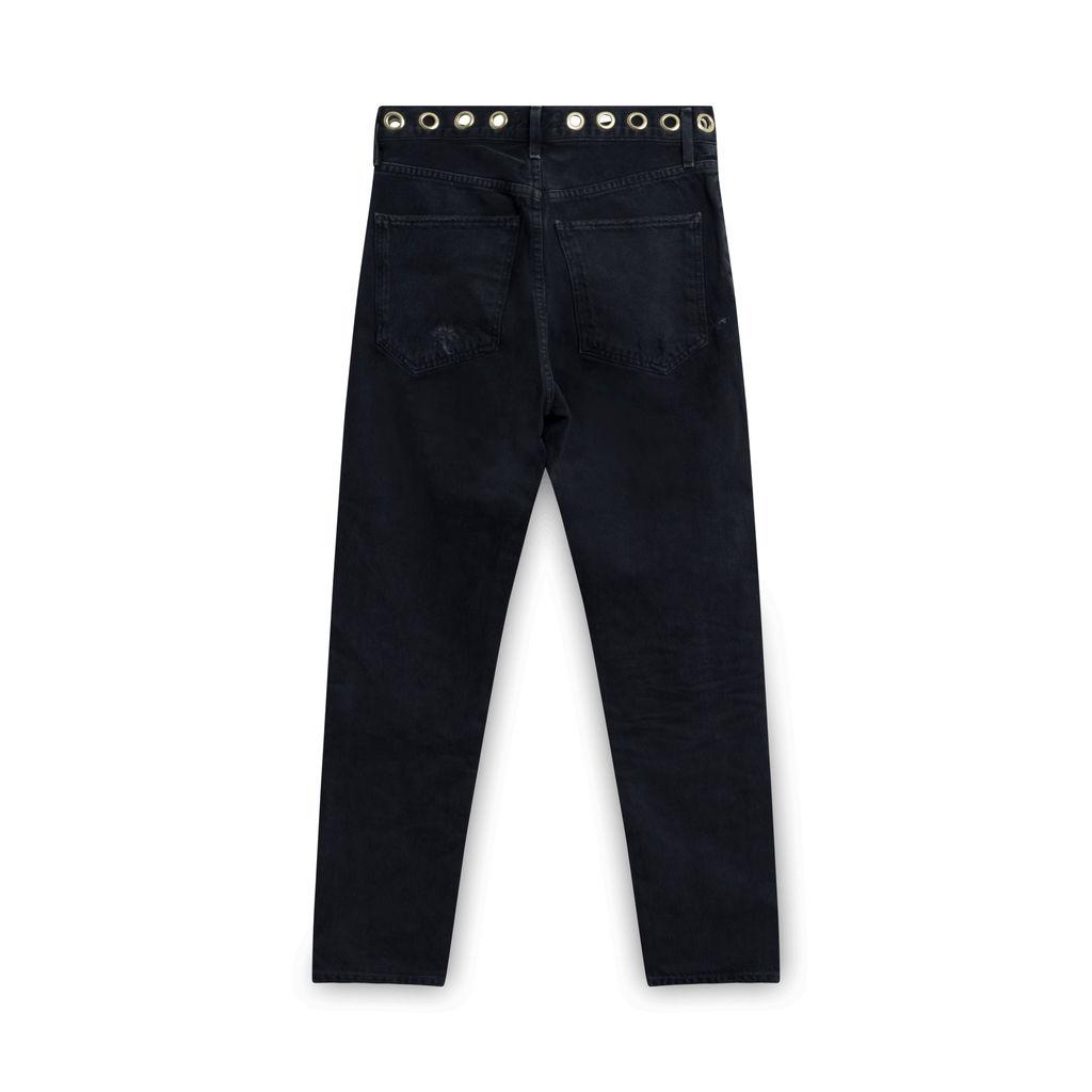 Agolde Black Straight Leg Ring Jeans