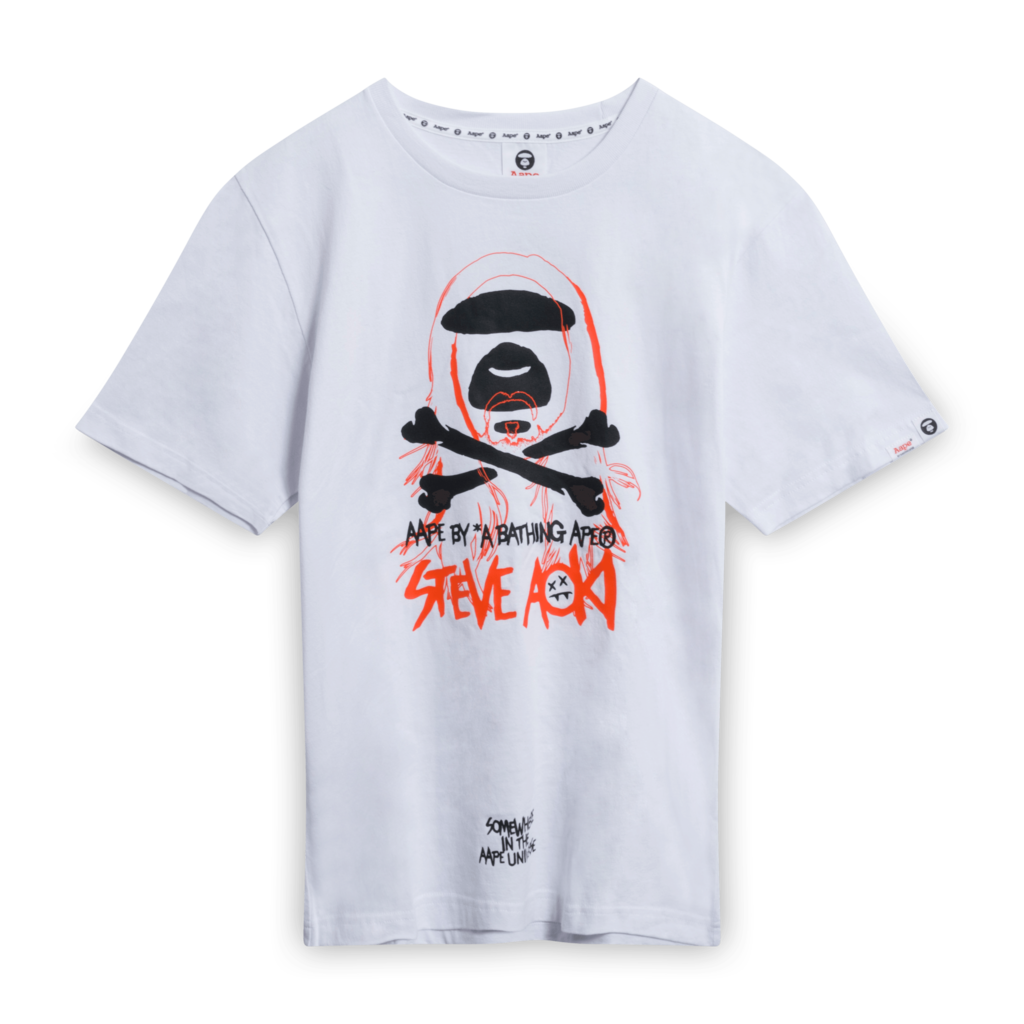 BAPE x Steve Aoki Ape Face Tee Shirt in White