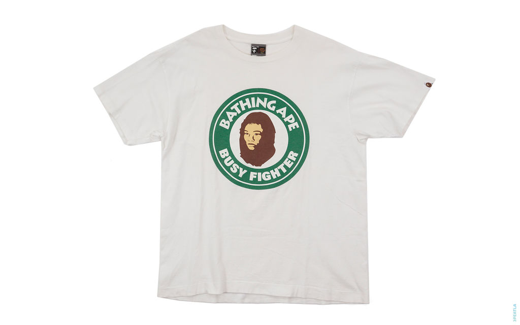 Busy Fighter Logo Tee white green