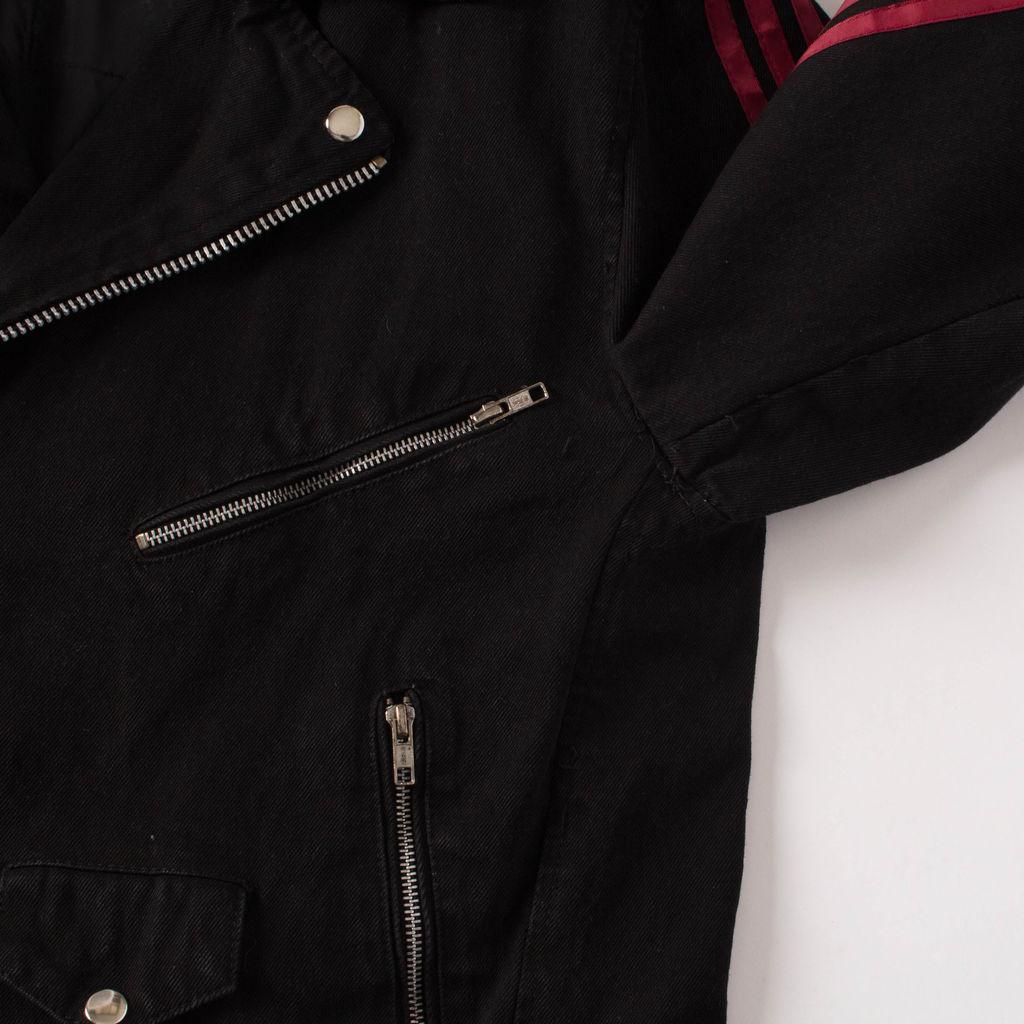 new style & luxury extremely unique enjoy complimentary shipping Vintage Black Denim Moto Jacket by Sami Miro