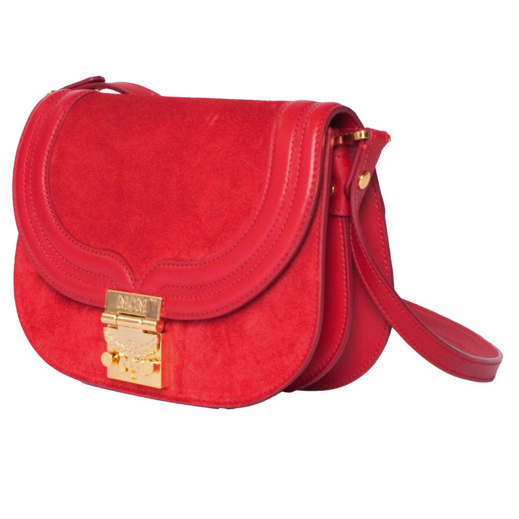 MCM Red Trisha Bag in Suede