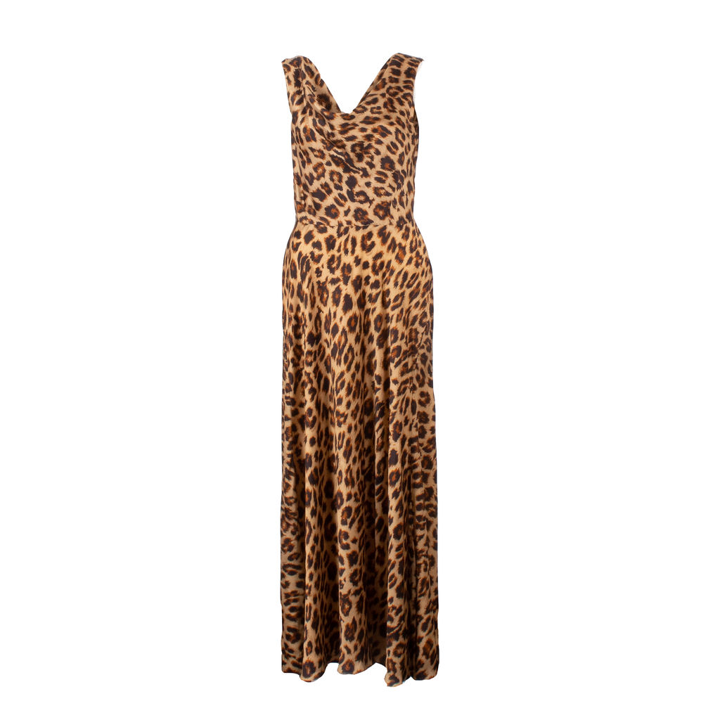 Azeeza Saunder Leopard Silk Midi Dress