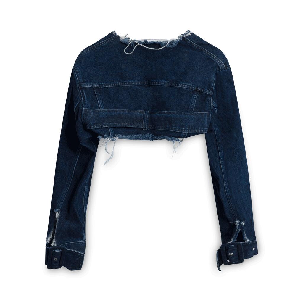Marques Almeida Cropped Denim Jacket - Blue