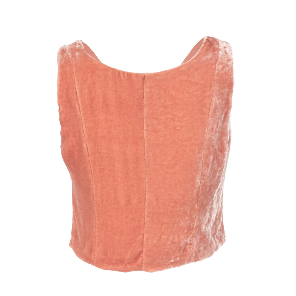 Staud Marie Cropped Velvet Top