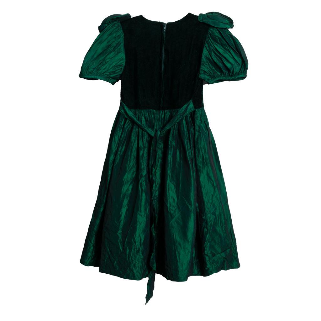 Jessica McClintock Iridescent Emerald and Black Formal Mini Dress - Black Velvet