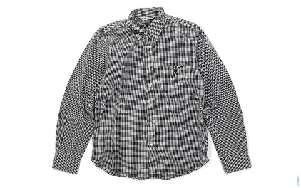 Apehead Check Button-Up Shirt black white