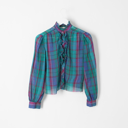 Vintage 80's Western Plaid Ruffle with Princess Sleeves curated by Sami Miro