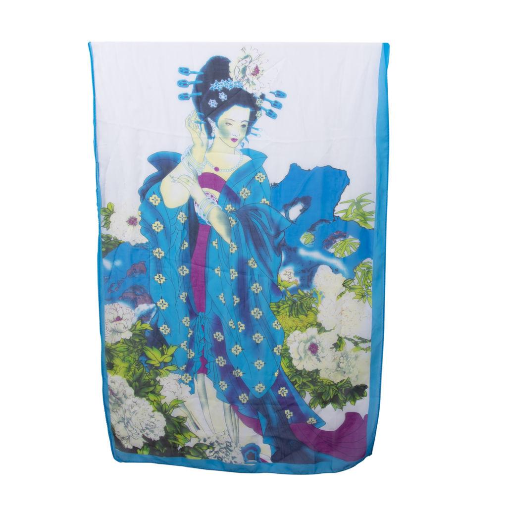 Vintage Geisha Print Scarf