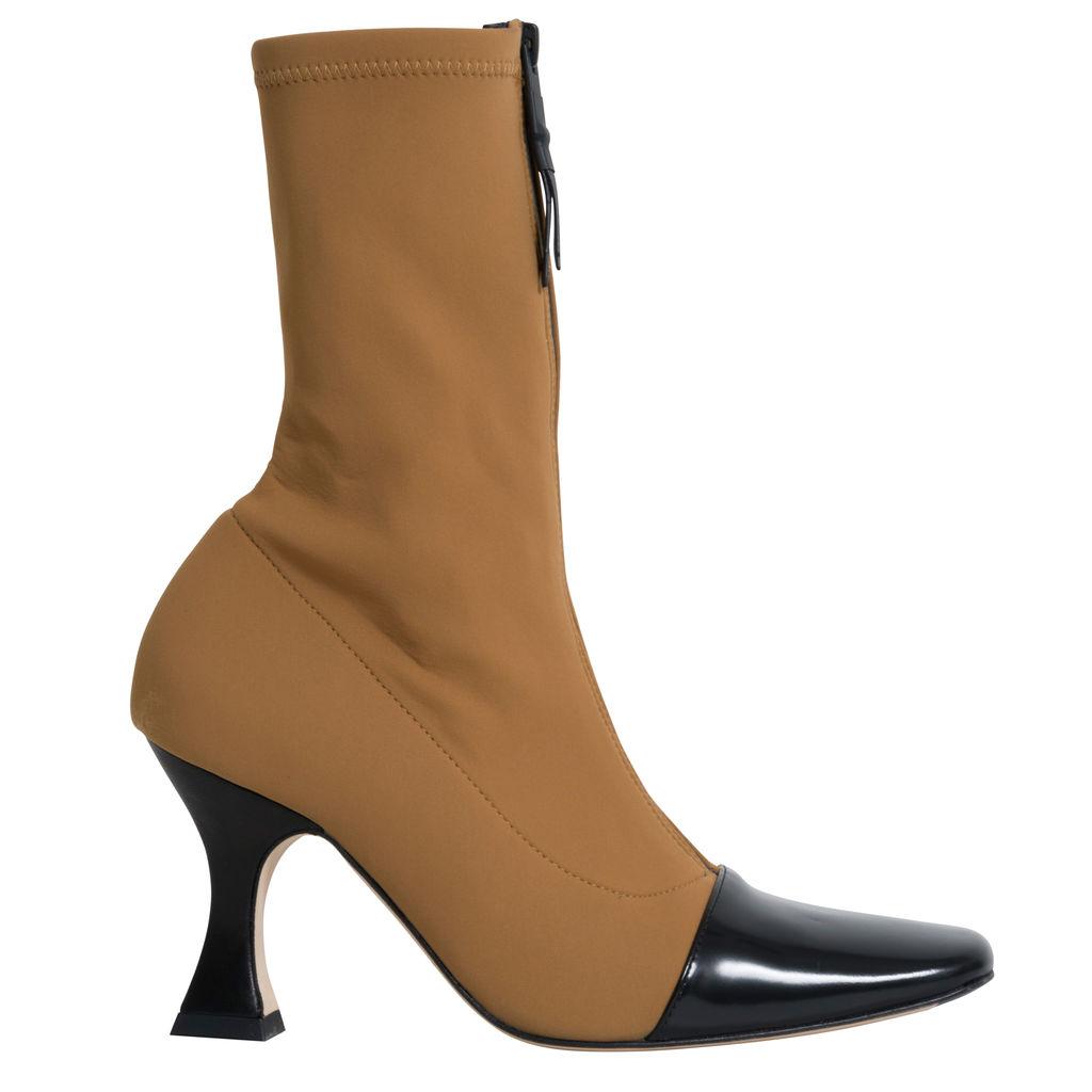 Miista Olga Camel Black Leather Lycra Boots