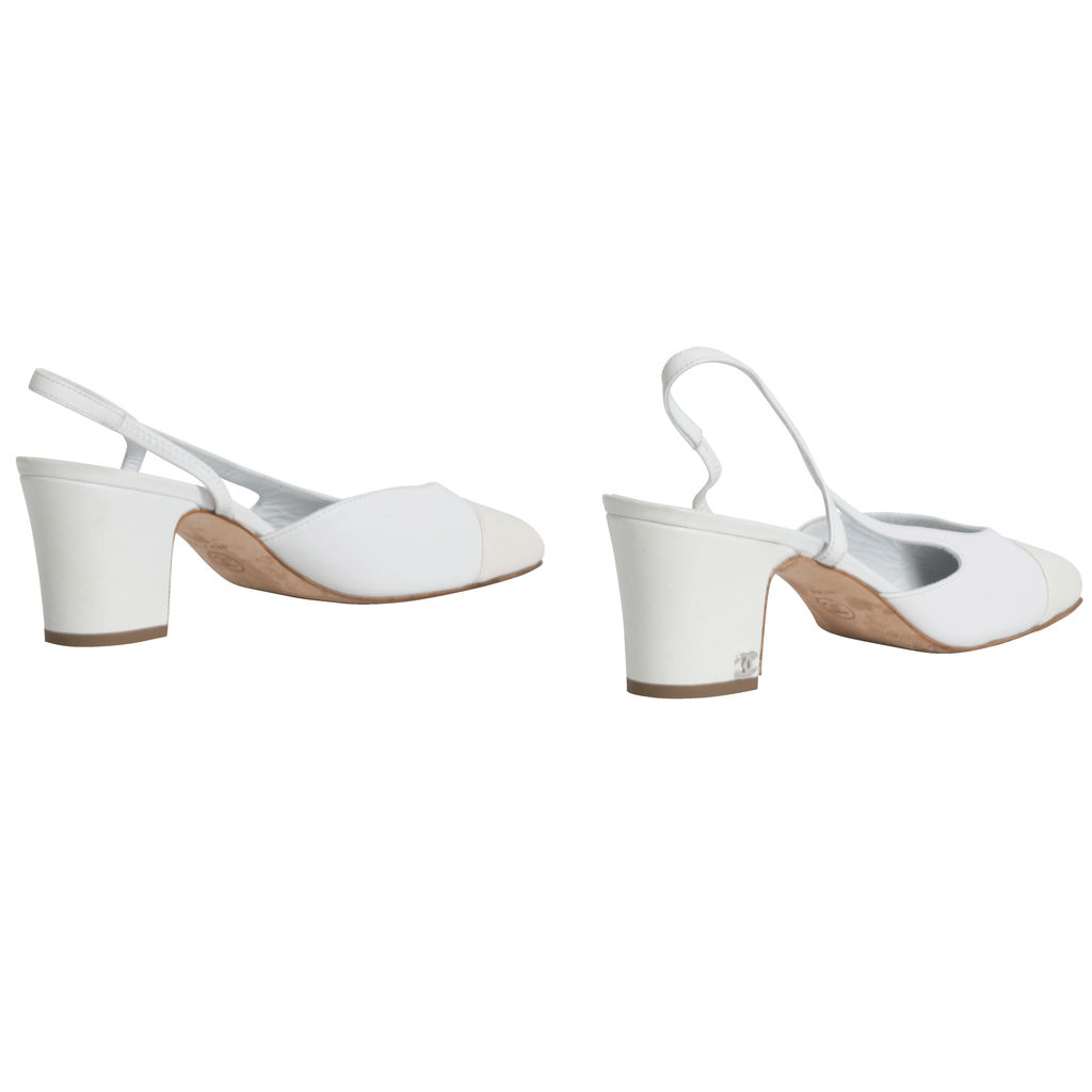 Chanel Two-Tone Leather Slingback Pumps in White/Ivory