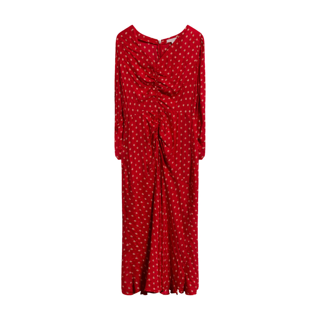 Rebecca Taylor Dot Jacquard Tea Dress in Red