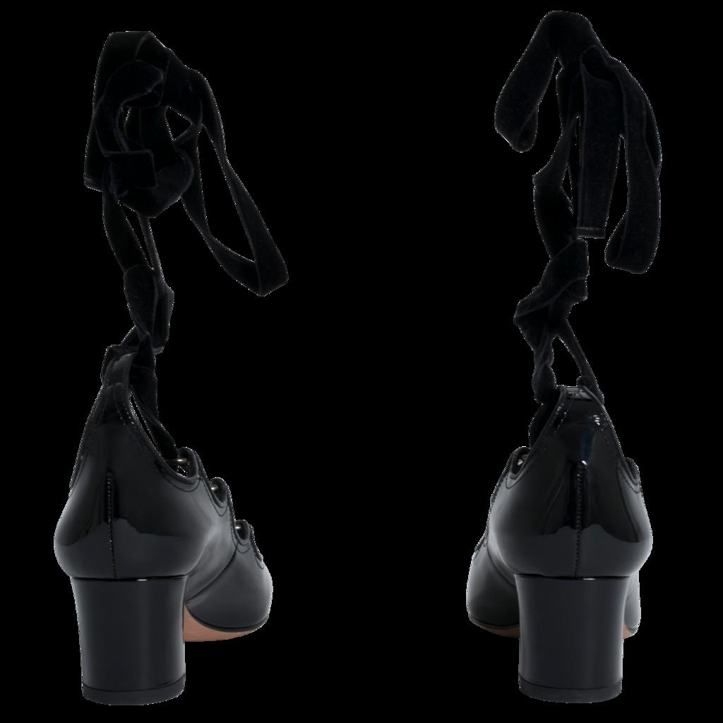 Valentino Ghille Black Velvet Tie Block Heels