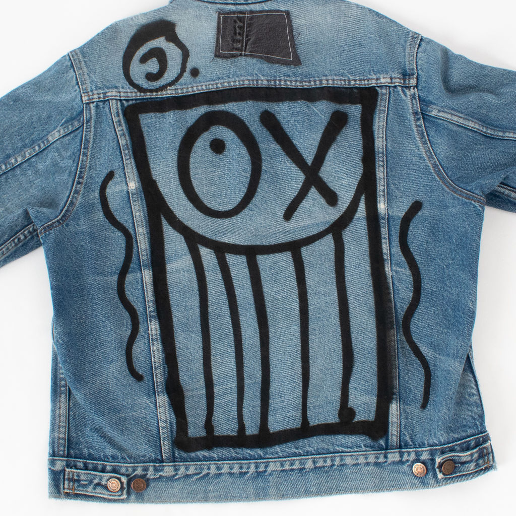 Sami Miro Vintage x André Saraiva Exclusive Denim Jacket With Distressed Collar - Custom One of One