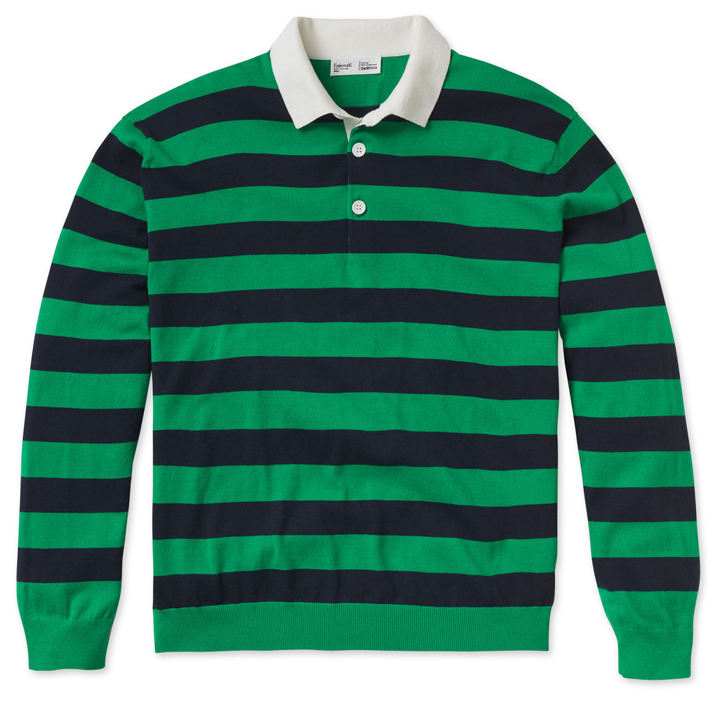 Entireworld Organic Cotton Long Sleeve Polo - Green/Navy