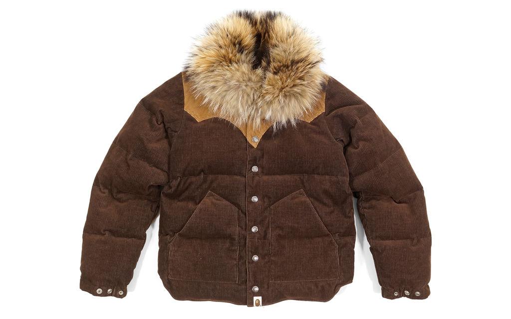 BAPE Fur Collar Corduroy Down Jacket brown