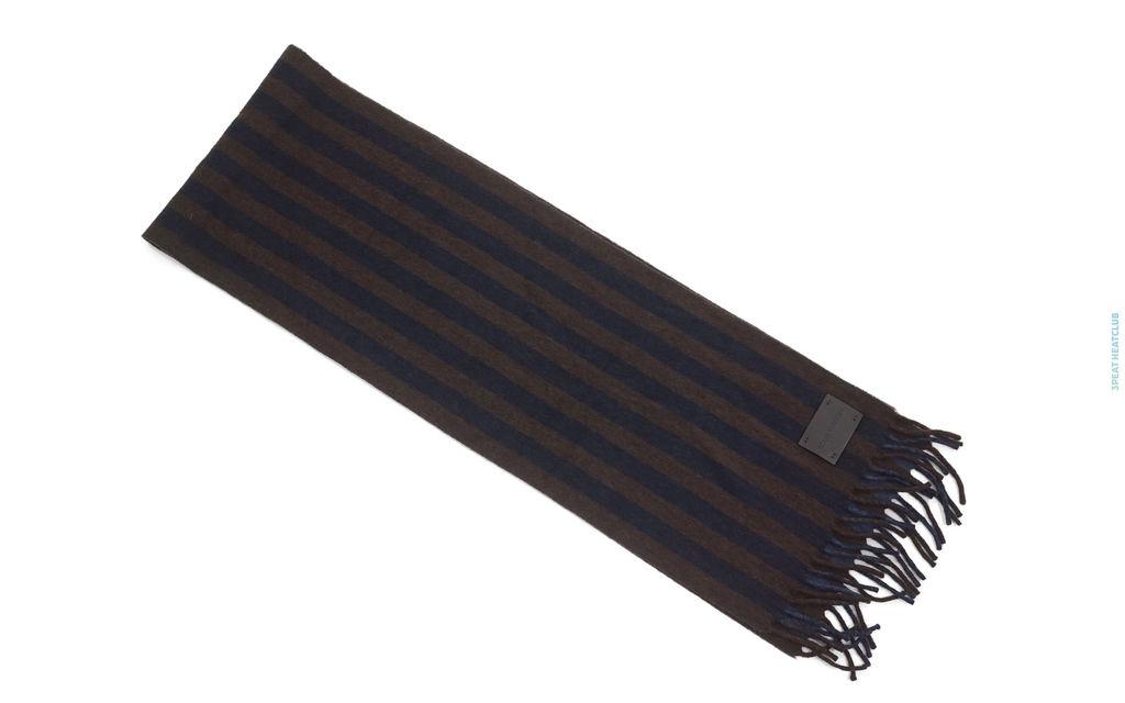 Louis Vuitton Striped Scarf brown navy