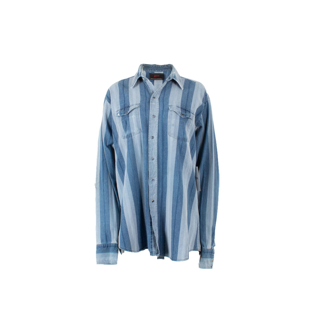 Sami Miro Vintage x André Saraiva Exclusive Striped Denim Overshirt - Custom One of One