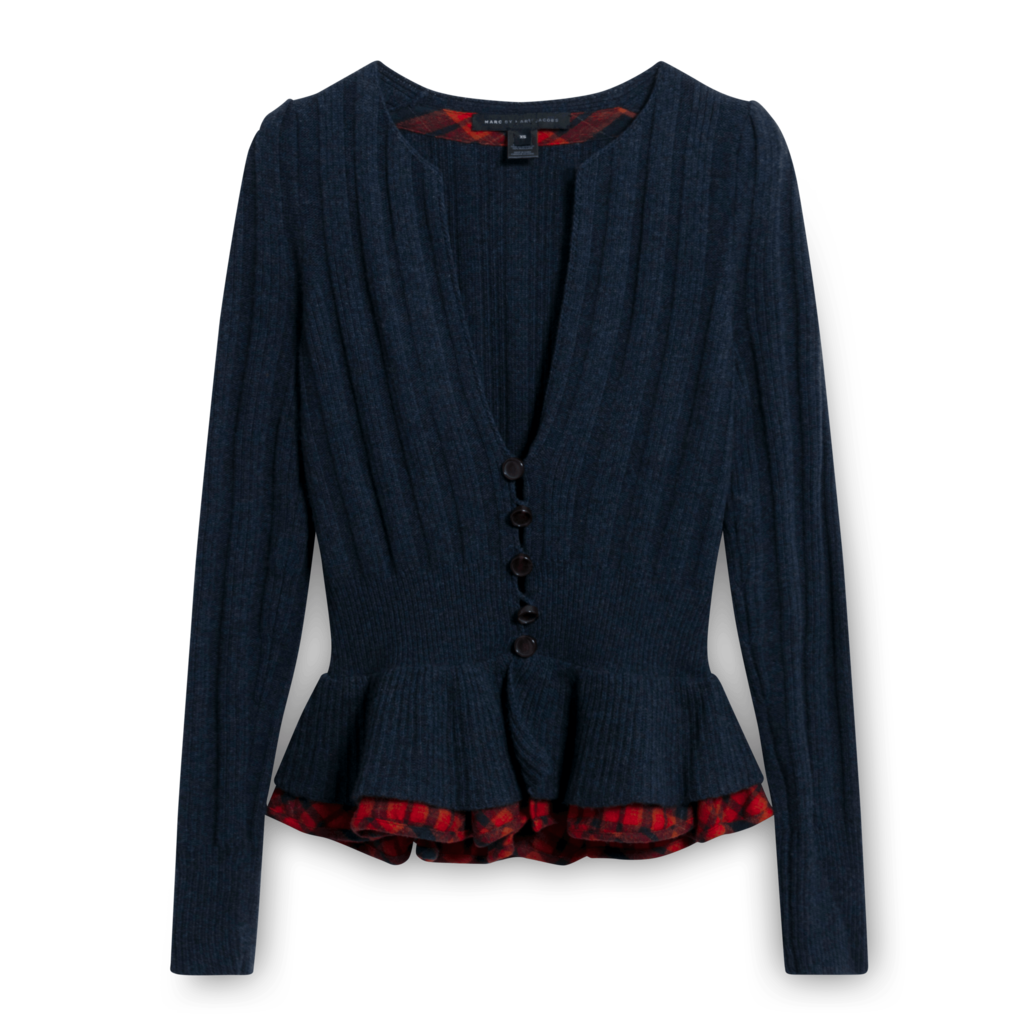 Marc By Marc Jacobs Rib Knit Peplum Cardigan