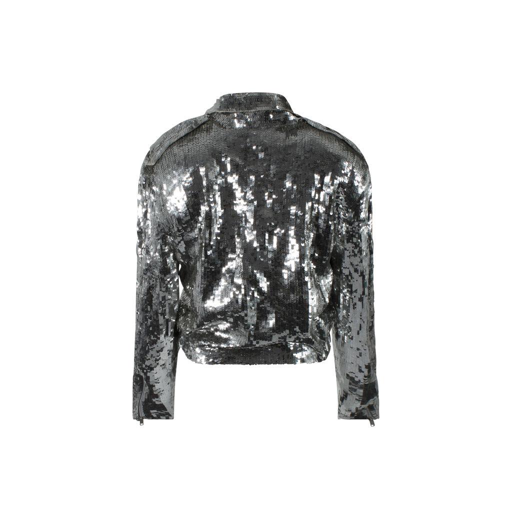 Silver Sequin Moto Jacket