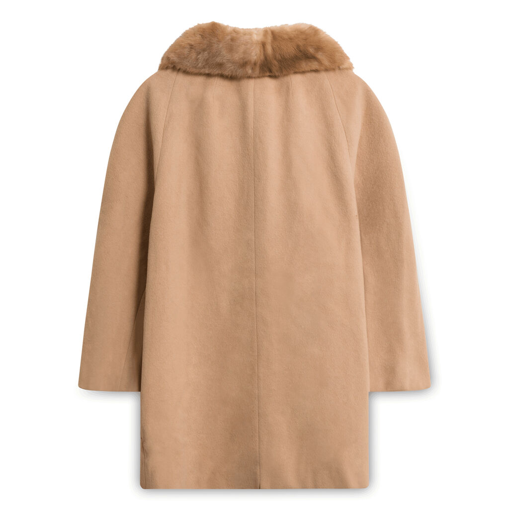 Vintage Coat with Fur Collar - Tan