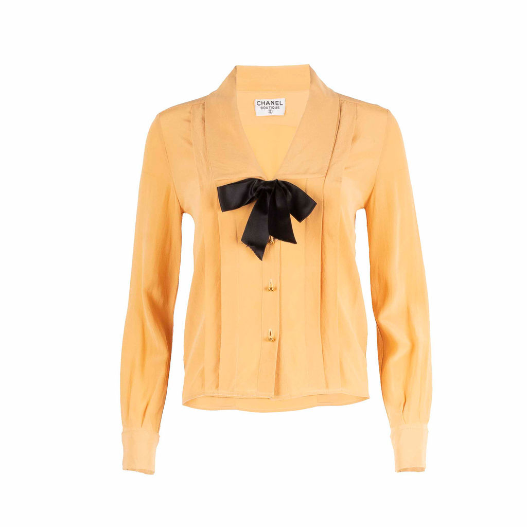 Chanel Boutique Silk Bow Blouse