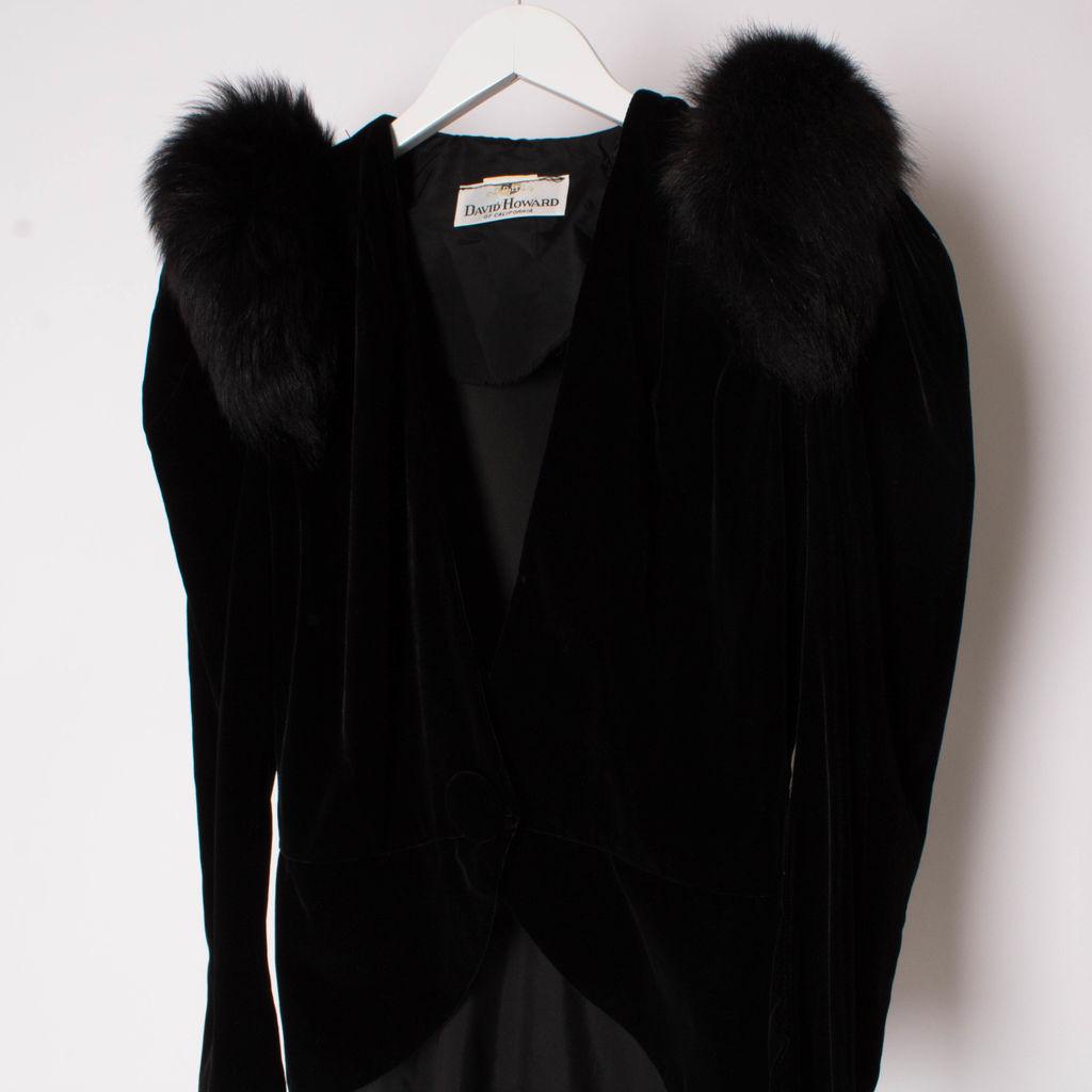 Vintage 80s David Howard Velvet And Fox Tuxedo Jacket
