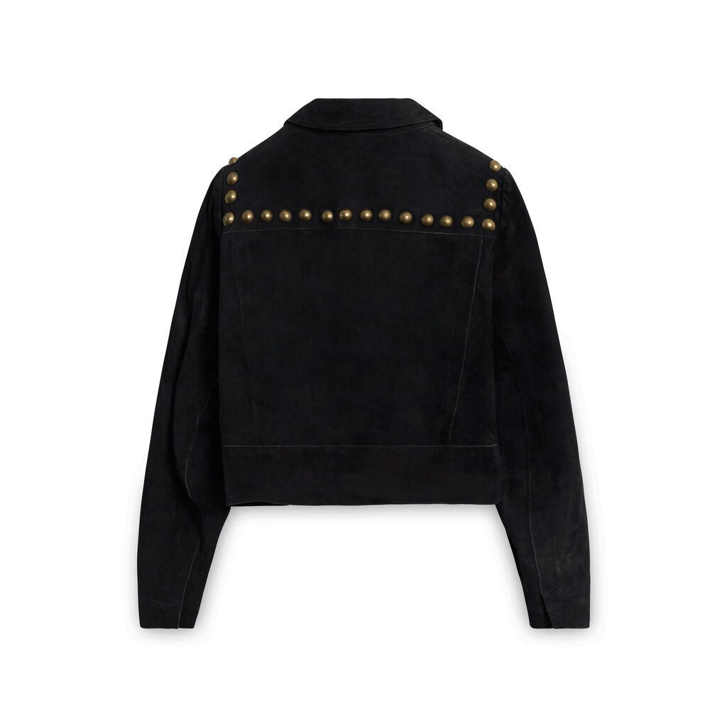Sandro Suede Leather Jacket with Brass Buttons - Black
