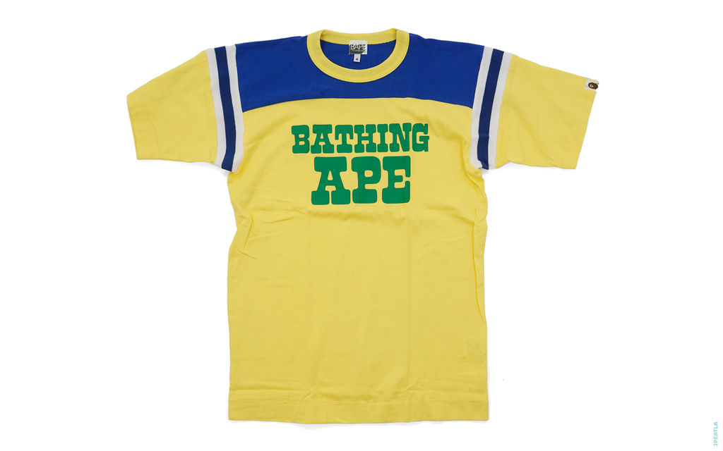 Bathing Ape Cut & Sew Tee yellow blue green