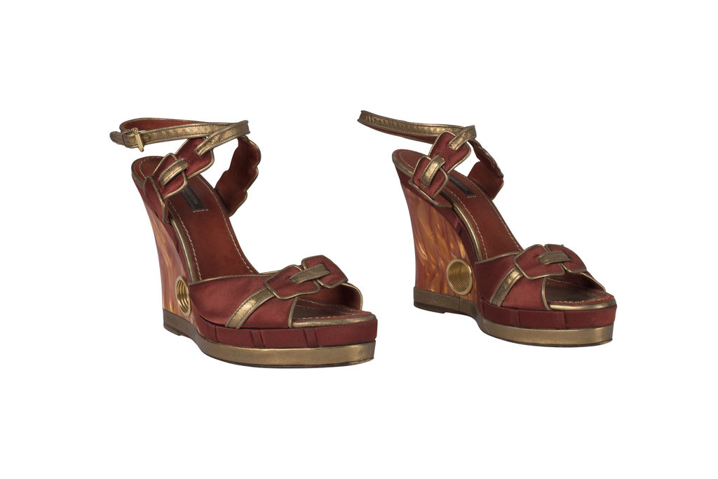 Louis Vuitton Red and Gold Platform Peep Toe Wedge