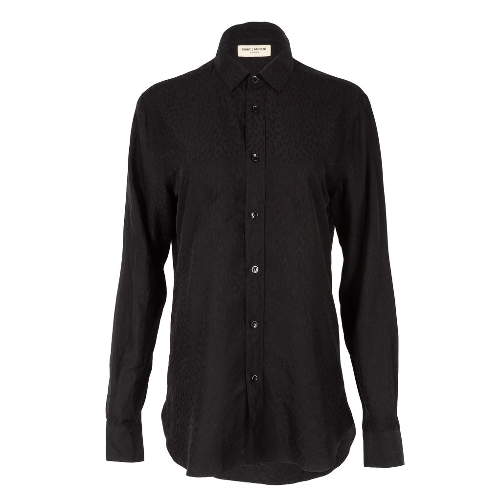 Saint Laurent Tonal Leopard Button Down Shirt