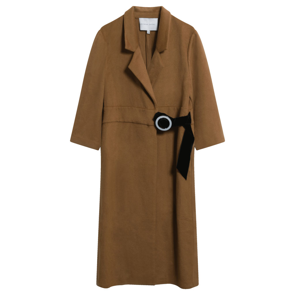 Dona Zhong D-Ring Wool Cashmere Coat in Camel