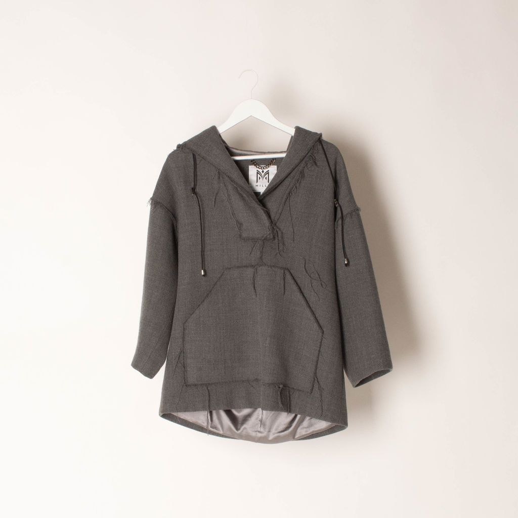 Milly Double Face Wool Hooded Coat