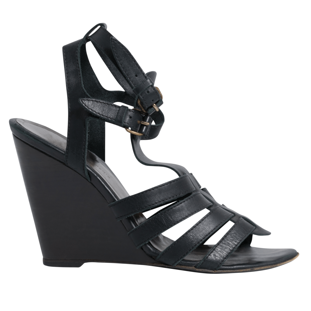 Balenciaga Black Leather Ankle Strap Wedge