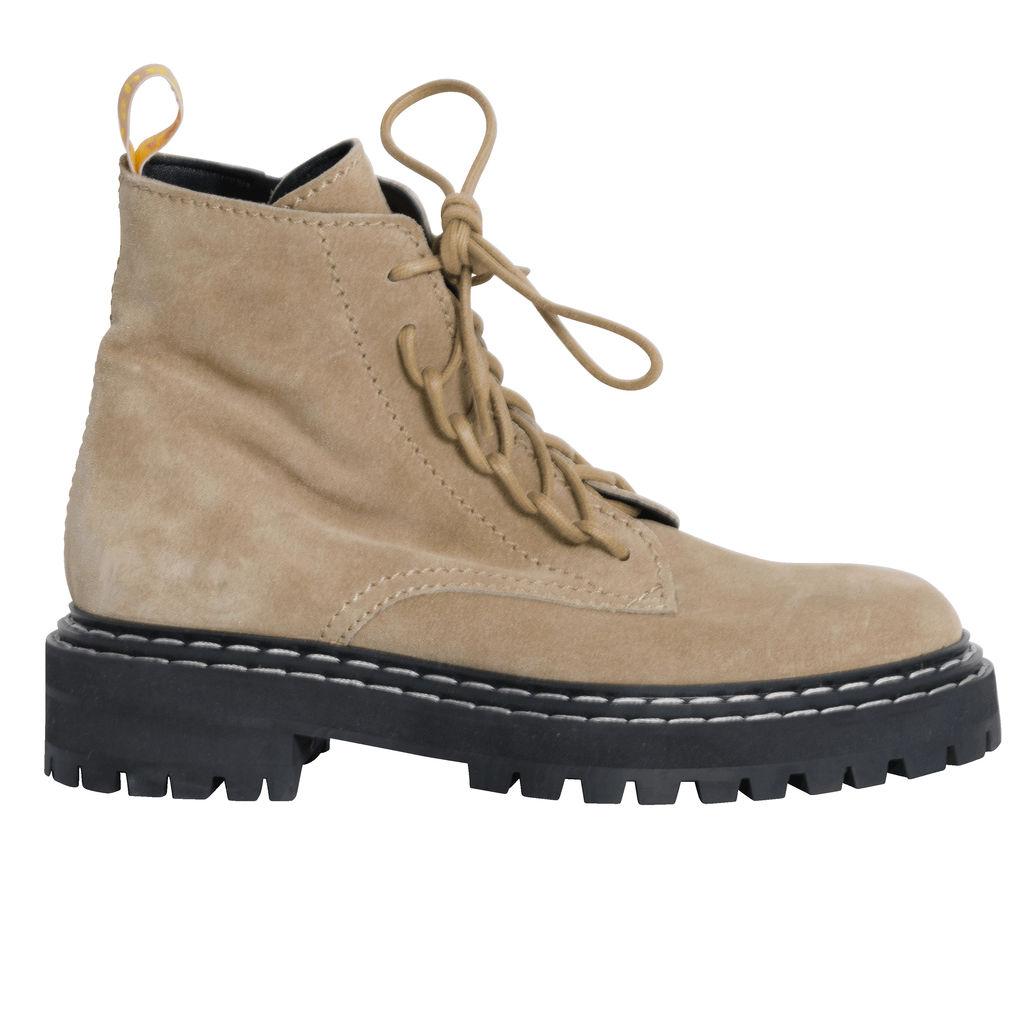 Proenza Schouler Suede Lug Sole Combat Boots