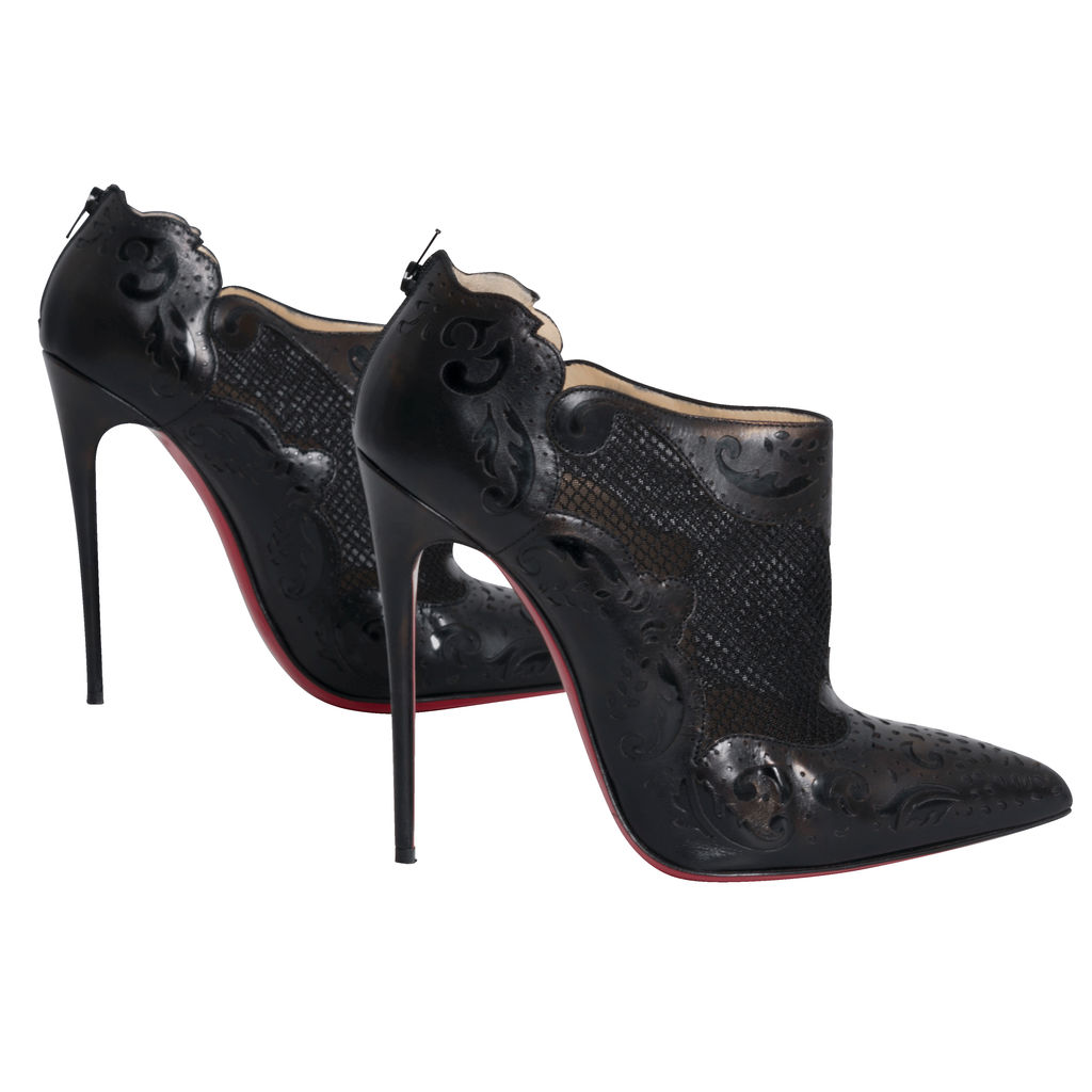 Christian Louboutin Leather and Lace Ankle Booties