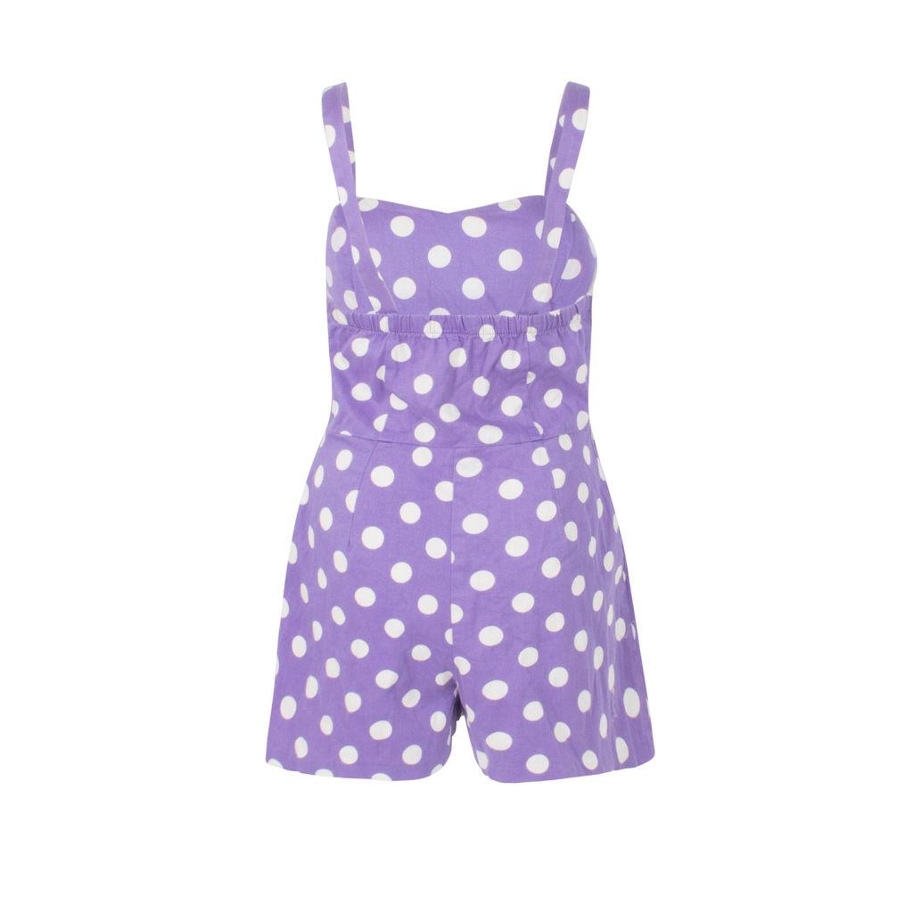 Ixia Purple Polka-Dot Romper