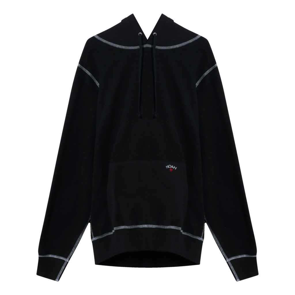 Noah Reverse Fleece Contrast Stitch Hoodie in Black