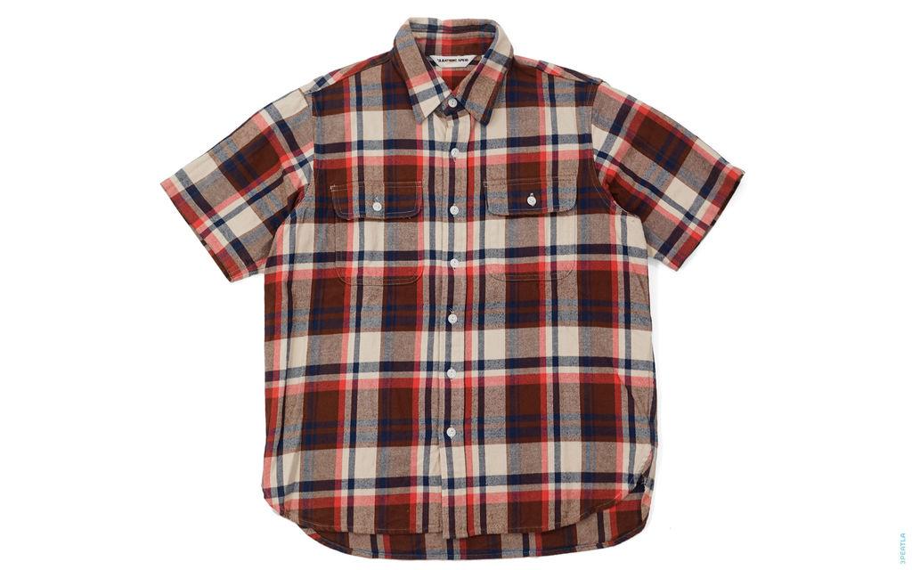 BAPE Check Double Pocket Short Sleeve Button-Up Shirt light-brown