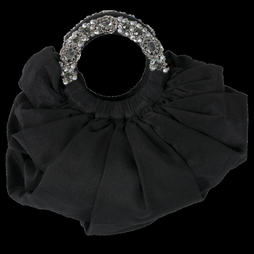 Azeeza Circle Raw Silk Gunmetal Embellished Bag