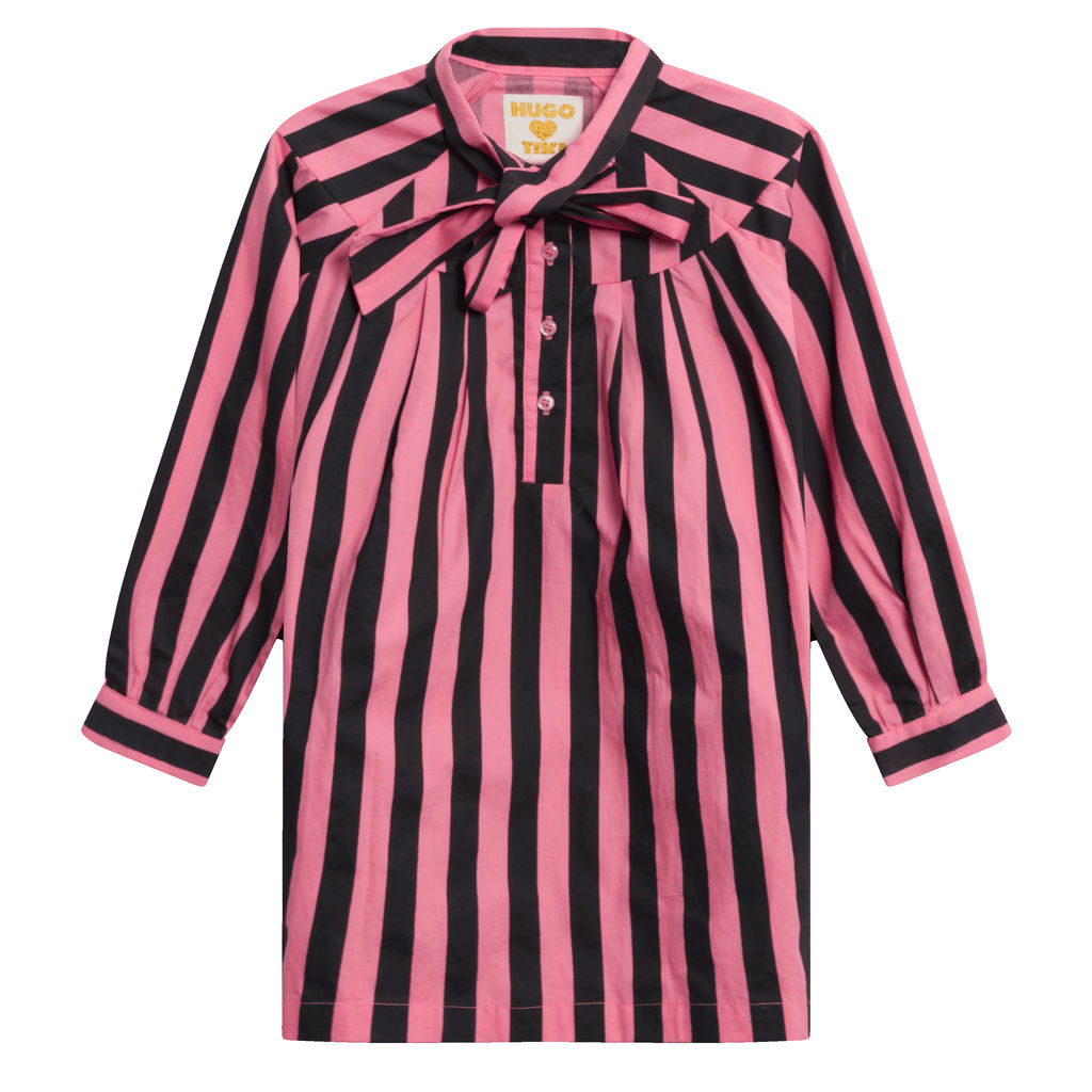 Hugo Loves Tiki Bow Dress Pink Black Stripes