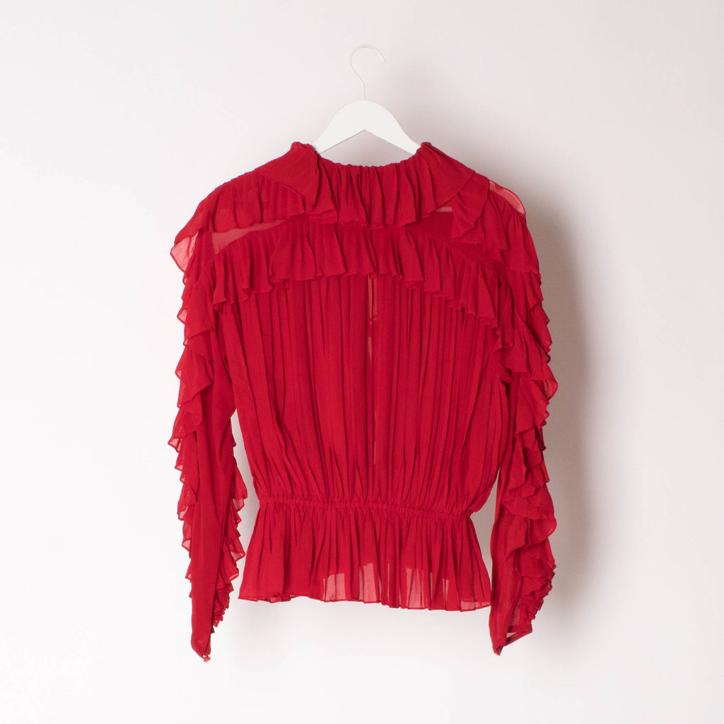 Vintage Per Spook Red Ruffle Blouse