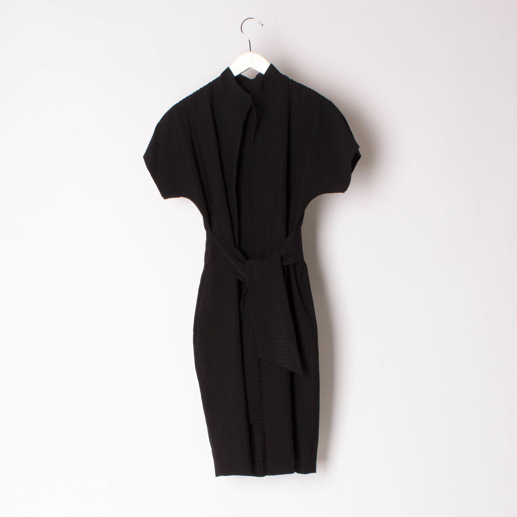 Vintage Black Duster with Waist Tie
