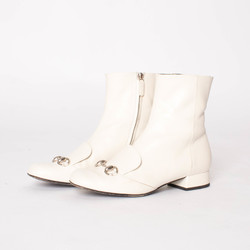 Gucci White Leather Regent Horsebit Ankle Boots curated by Sophia Amoruso